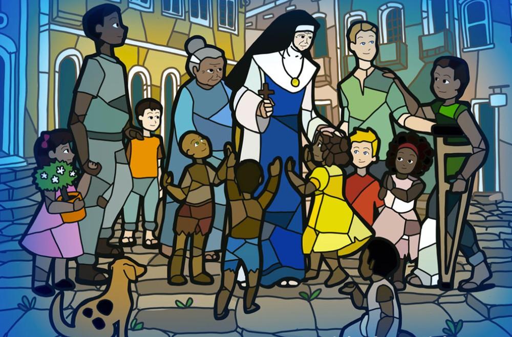 Vitral com desenho de crianças com irmã Dulce dos Pobres